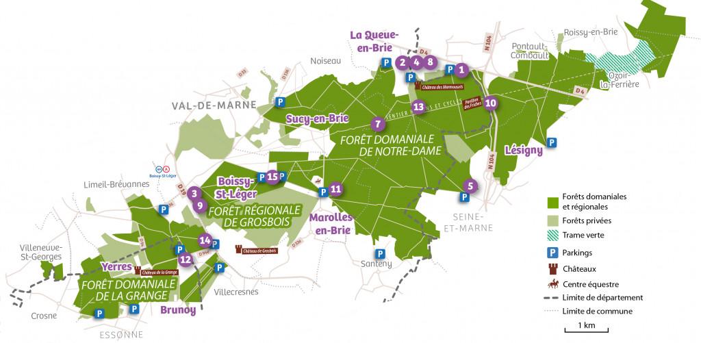 Carte des rendez-vous de l'Arc boisé 2021