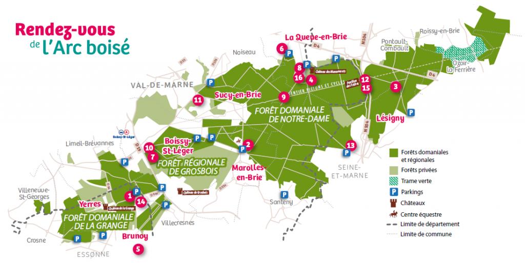 Carte des rendez-vous de l'Arc boisé 2020