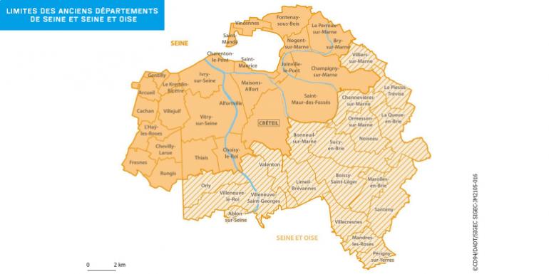 ancien Département de la Seine) pour la partie de la carte non hachurée, ou le Département des Yvelines (anciennement Seine et Oise)