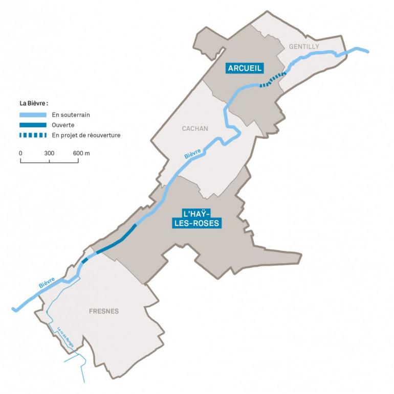 Carte du tracé de la Bièvre dans le Val-de-Marne