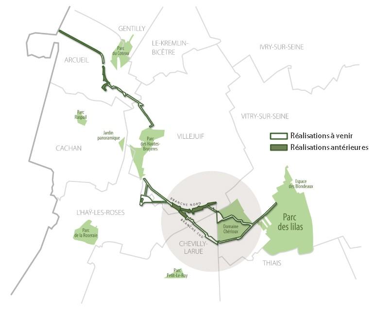 Carte du tracé de la coulée verte Bièvres-Lilas