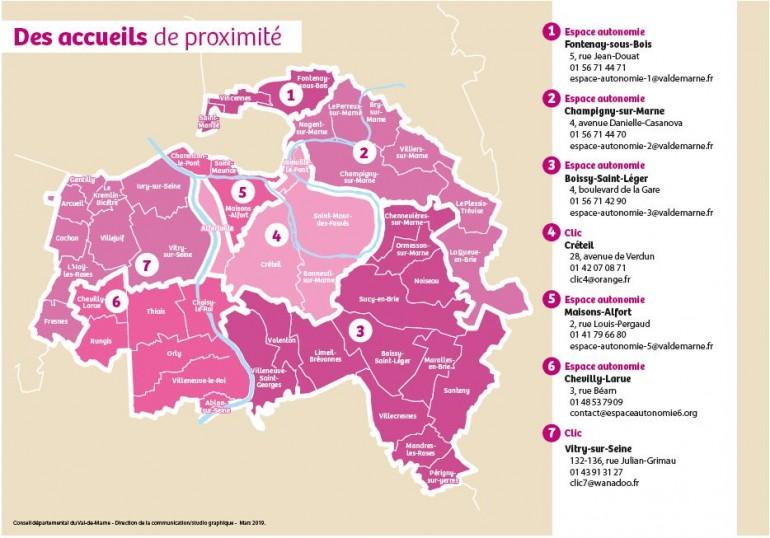 Carte espaces autonomie et clic du Val-de-Marne