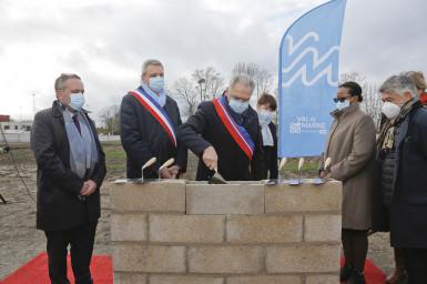 Pose de première pierre le 5 décembre 2020 à Champigny-sur-Marne ; crédit photo : Agnès Deschamps
