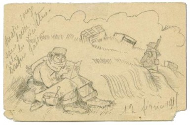 Dessins du soldat Gaston Pau [Février-octobre 1915] Correspondance militaire. 13 x 9 cm 9,5 x 14 cm (Collection privée)