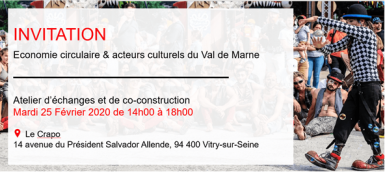 Invitation atelier ESS L'économie circulaire au profit des acteurs culturels du Val-de-Marne