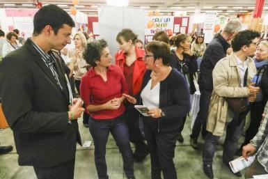 Pierre Bell-Lloch, Aline Maréchaux (Scop Univers et Conseils) et Martine Pinville à la Fête de l'Huma 2015 sur le stand ESS du Département