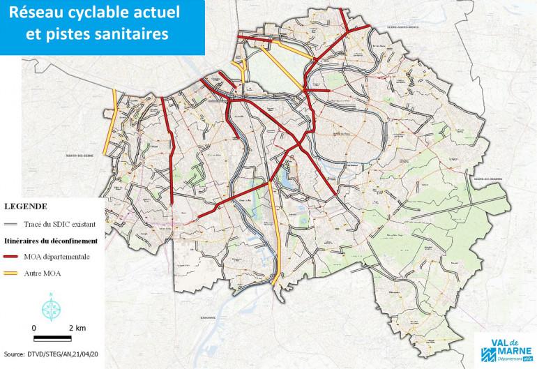 Réseau cyclable existant et pistes sanitaires