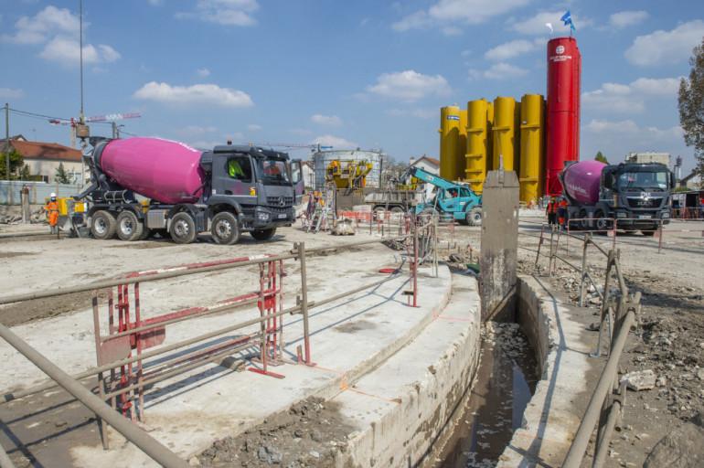 Travaux de construction de la station de dépollution des eaux pluviales ; crédit photo : M Lumbroso