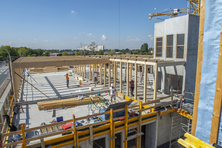 Construction du collège intercommunal de Valenton, septembre 2020 ; crédit photo : M. Lumbroso