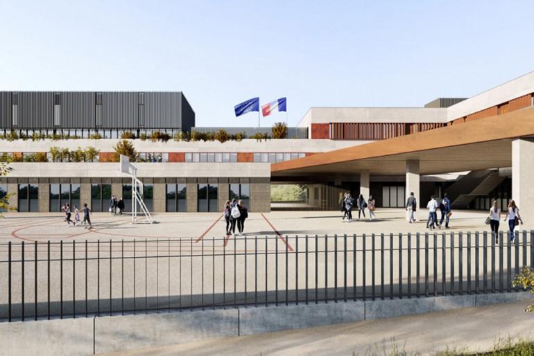Vue du futur collège à Champigny-sur-Marne, perspective vue de la cour ; crédit : Valero Gadan & Associés