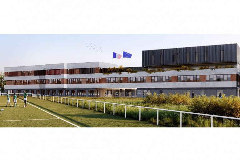 Vue du futur collège à Champigny-sur-Marne, perspective vue du mail ; crédit : Valero Gadan & Associés