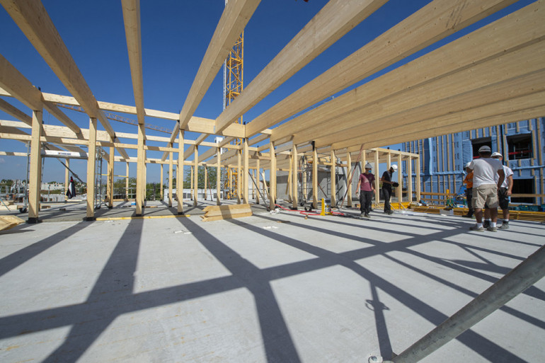 Construction du collège intercommunal de Valenton ; crédit photo : M. Lumbroso
