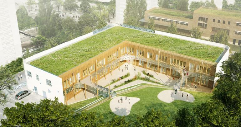 Vue aérienne de la future crèche et du centre de PMI des Larris à Fontenay-sous-Bois ; crédit : ARC AME L'Agence Française