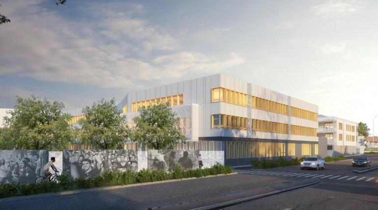 Projet du collège intercommunal de Valenton Département du Val-de-Marne ; crédit : Archipente