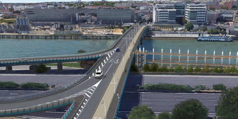 Vue du pont Nelson-Mandela en amont.