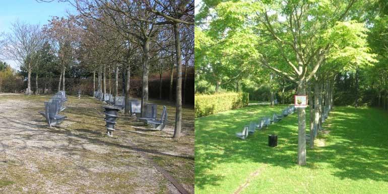 Parc du plateau - placette des pendants (avant : 10.03.2011 / après : 09.09.2014)