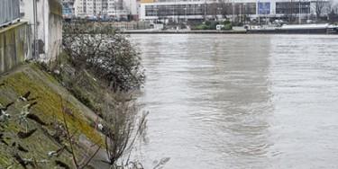 Quais de Seine à Ivry-sur-Seine pendant la crue de la Seine en janvier 2018. Photo : M. Lumbroso
