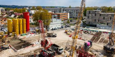 travaux de construction d'une station de dépollution des eaux pluviales à Champigny-sur-Marne