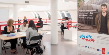 L'espace conseils de la Cité des métiers permet aux visiteurs de rencontrer un professionnel pour obtenir de l'aide ou des informations sur tout type de démarche liée à l'emploi. ©Alex Bonnemaison