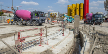 travaux de construction d'une station de dépollution des eaux pluviales