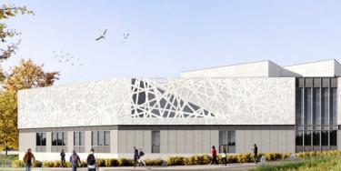 Vue du futur collège à Champigny-sur-Marne, perspective vue du rond-point ; crédit : Valero Gadan & Associés