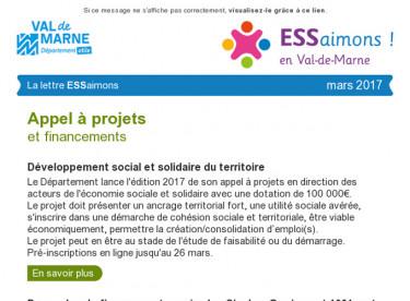 Newsletter ESSaimons Février 2017  /appel à projets