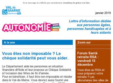 Chèque Solidarité / Au RSA : préparez votre retraite / Autisme / Handicap et Emploi