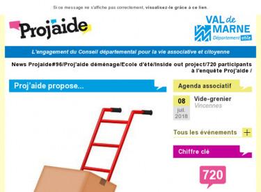 News Projaide#96/Proj'aide déménage/Ecole d'été/Inside out project/720 participants à l'enquête Proj'aide