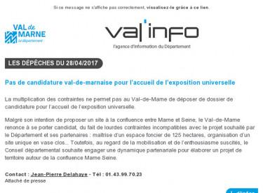 Val'info : 28/04/2017
