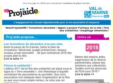 NewsProjaide#89 / Formations décembre / Appels à projets Politique de la ville / Fête des solidarités / Gaspillage alimentaire