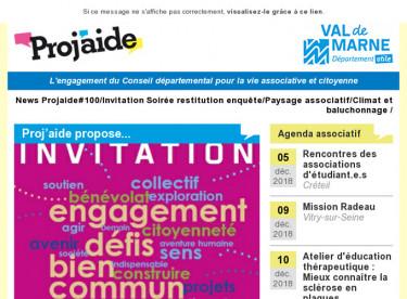 News Projaide#100/Invitation Soirée restitution enquête/Paysage associatif/Climat et baluchonnage