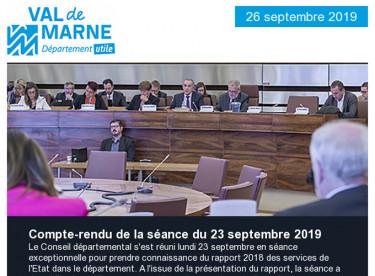 Compte rendu de la séance du 23 septembre: rapport des services de l'Etat dans le département / Prenez rendez-vous avec l'emploi