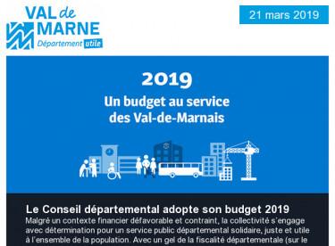 Budget 2019 / Solidarité interdépartementale / Compte-rendu de la séance du 18 mars / Journée mondiale de l'eau