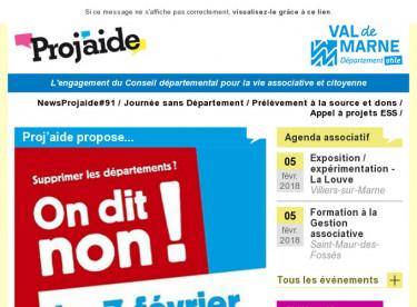 NewsProjaide#91 / Journée sans Département / Prélèvement à la source et dons / Appel à projets ESS