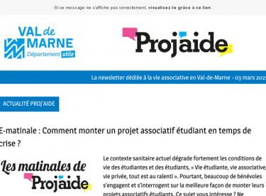 News Proj'aide 139  E-matinale projets étudiants, Outils Proj'aide, Restitution d'enquête, FDVA