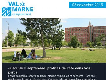 L'été dans les parcs / Votre avis nous intéresse / SOS rentrée / Travaux dans les collèges / Festival Théâtre