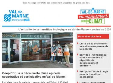 Lettre d'actualité du Val-de-Marne en mouvement pour le climat - septembre 2020