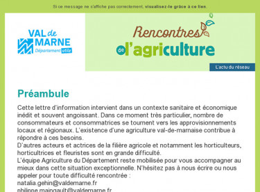 Rencontres de l'agriculture - Lettre d'information n°7