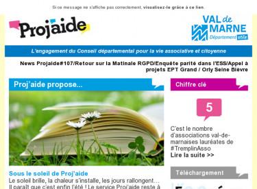 News Projaide#107/Retour sur la Matinale RGPD/Enquête parité dans l'ESS/Appel à projets EPT Grand-Orly Seine Bièvre