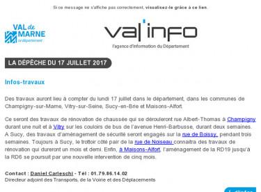 Val'info : 17/07/2017