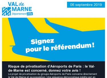 Risque de privatisation d'Aéroports de Paris: le Val-de-Marne est concerné, donnez votre avis / Commission permanente du 26 août