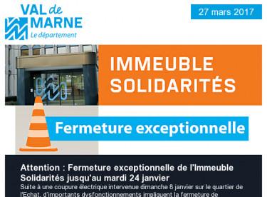 Fermeture Immeuble Solidarités / BAFA / RD19 / Sons d'Hiver / Ecole vétérinaire / Economies d'énergie