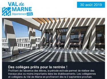 Des collèges prêts pour la rentrée ! / Le 105e collège du Val-de-Marne ouvre ses portes à Vitry-sur-Seine.