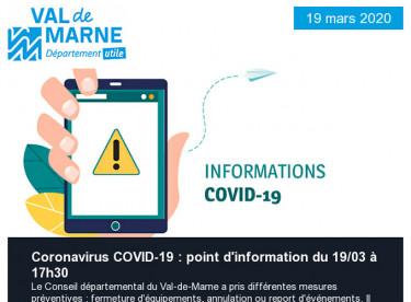 Retrouvez les informations sur le Coronavirus COVID-19 et sur les équipements départementaux