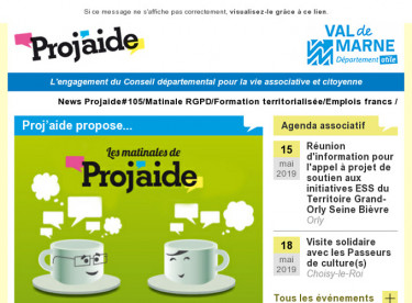 News Projaide#105/Matinale RGPD/Formation territorialisée/Emplois francs