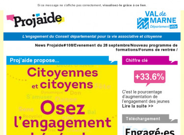 News Projaide#108/Evenement du 28 septembre/Nouveau programme de formations/Forums de rentrée
