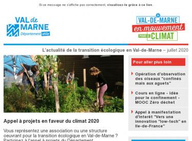 Lettre d'actualité du Val-de-Marne en mouvement pour le climat - avril 2020