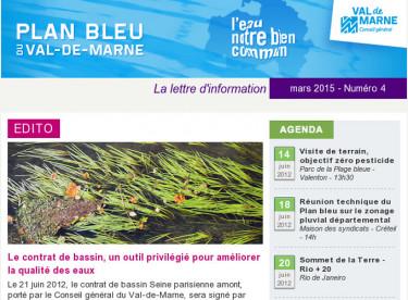Lettre d'information du Plan bleu - Les contrats de bassin - Signature du Contrat Seine parisienne amont