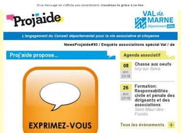 NewsProjaide#93 / Enquête associations spécial Val-de-Marne / Ateliers d'écriture / Rapport du sénat sur les emplois aidés/Parco