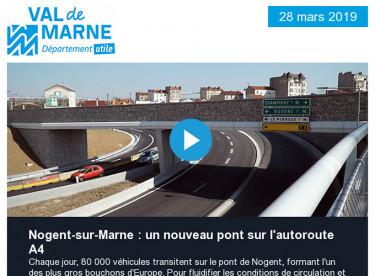 Nogent-sur-Marne : un nouveau pont sur l'autoroute A4 / Enquête publique câble A - Téléval / Réservations été villages vacances